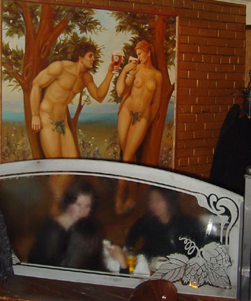 De Verboden Frucht from Hogaarden - artwork at the Bier Markt; photo by Lucy Saunders