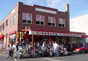 Exterior of Dinosaur Bar-B-Que in downtown Syracuse, NY, 2001, photo by Lucy Saunders