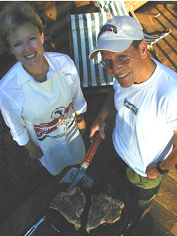 Peggy and Jake Leinenkugel love to grill with the family brew